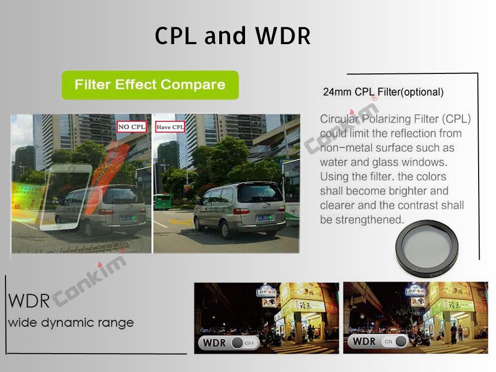 Conkim Dual Lens Car Dash Camera GPS DVR Front 1080P FHD+Rear Camera 1080P FHD Parking Guard Motion Detect Mini 0906 Novatek Cam 7