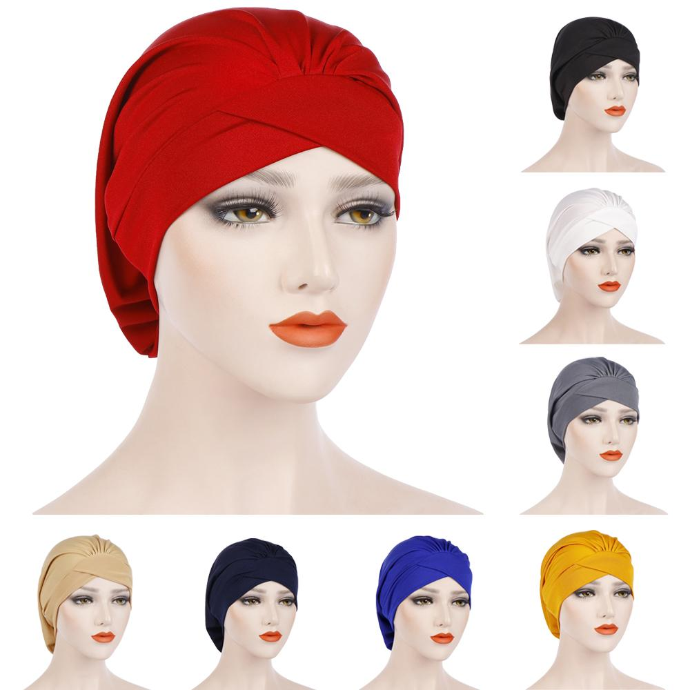 New Stretch Nightcap Forehead Cross Pleated Indian Muslim Women Beanie Chemo Cancer Bonnet Head Cover Wrap Headscarf Hats Plain