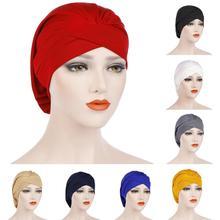New Stretch Nightcap Forehead Cross Pleated Indian Muslim Women Beanie Chemo Cancer Bonnet Head Cover Wrap Headscarf Hats Plain
