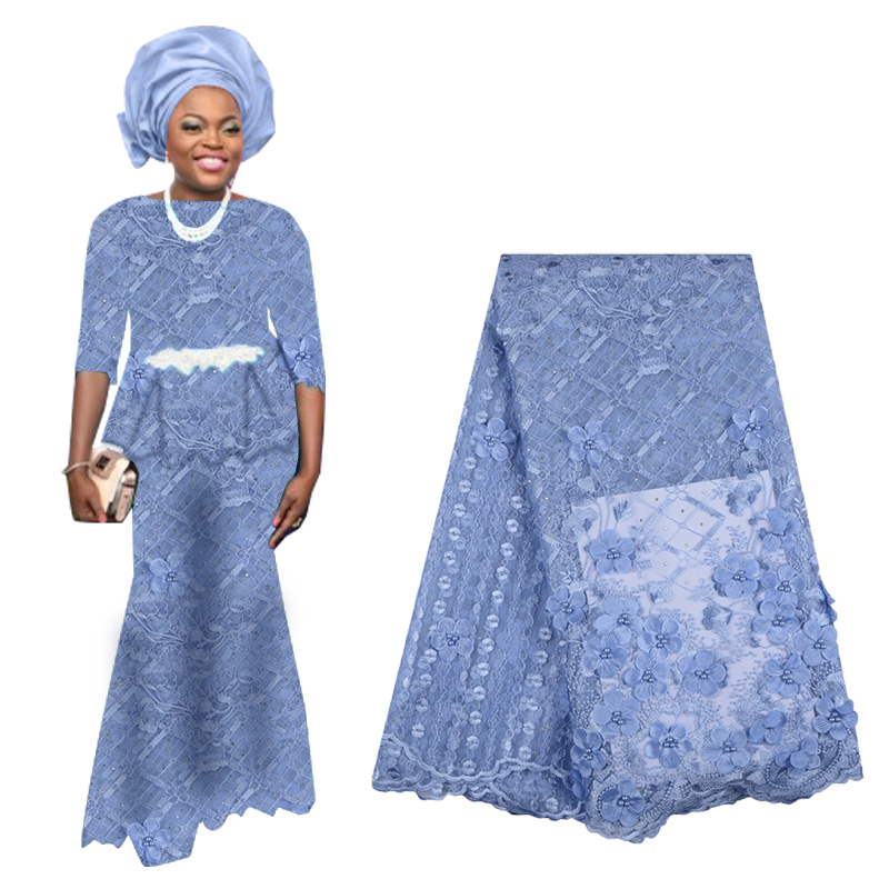 2019 Luxury African Embroidery 3D Flower Lace Fabric High Quality Nigerian French Tulle Lace Fabric With Stones For Wedding