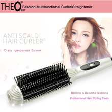 Sale Theo 2 in 1 Brush Hair Straightener Professional Fast Hair Straightener Comb Electric Straightening Hair Curler Iron HQT-318