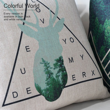 Nordic geometry Green Forest deer Pillow animal cushions thick linen pillow case sofa cushion home decorative Pillows