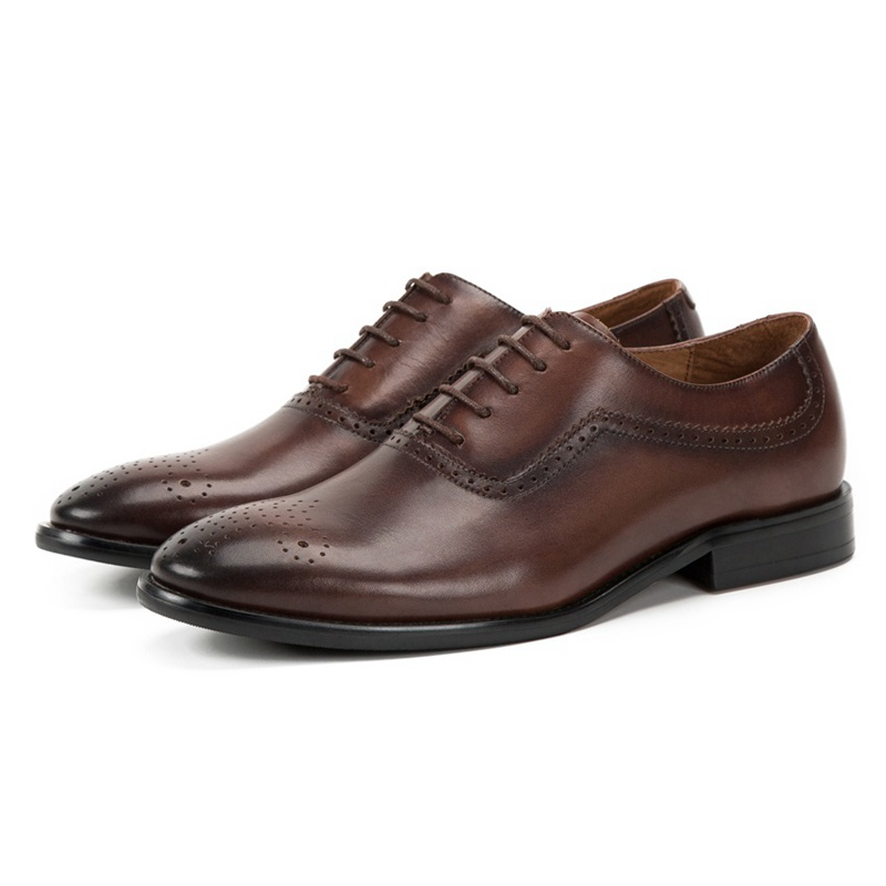 Qualité D'été Véritable Main Ss266 Chaussures Richelieus Cuir Robe Respirant Formelle Hommes Haute En De Sculpté coffee Rond Médaillon Bout Homme Marron dfpd5qz