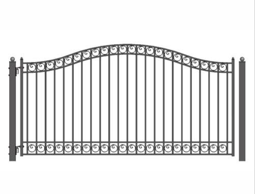HENCH Arch Style Ornamental Iron Wrought Single Swing 16' Driveway Gate