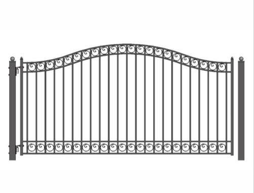 HENCH Arch Style Ornamental Iron Wrought Single Swing 16' Driveway Gate