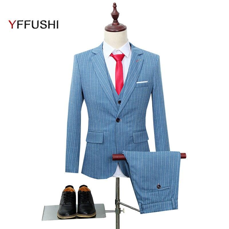 21ebf73327f YFFUSHI New Men Suit 3 Pieces Red Striped Tuxedo Business Casual Wedding  Suits for Men Plus Size 6XL Jacket Vest Pants