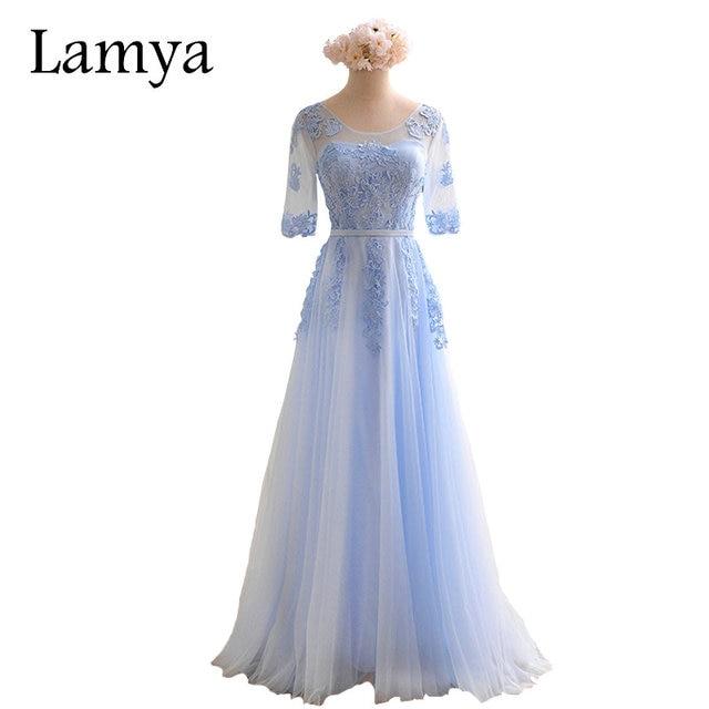 LAMYA 2019 Women Fashionable Cheap Long Tulle Bridesmaid Dresses Plus Size Elegant Party Dress BD2715
