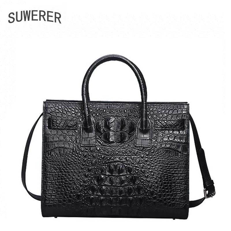 2018 New Superior cowhide women Genuine Leather bags luxury handbags Crocodile pattern Embossing designer women handbags стоимость