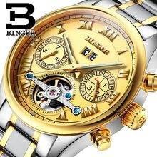 Швейцария БИНГЕР часы мужчины luxury brand Tourbillon сапфир световой несколько функций Механические Наручные Часы B8602-8