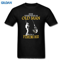 Cotton Shirts Cheap Wholesale Short Sleeve Printing Machine Crew Neck Mens Never Underestimate An Old Man