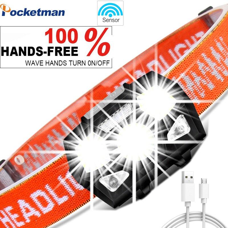 6000 lumen LED Scheinwerfer Super Helle Bewegung Sensor Hände-freies Leistungsstarke Scheinwerfer USB Aufladbare Wasserdichte kopf lampe licht