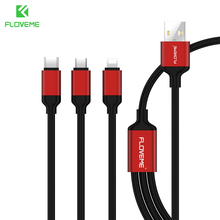 FLOVEME USB Cable 3 in 1 For iPhone USB Micro USB Type C Charger For iPhone 7 6 5S Samsung S8 S7 S6 Huawei Xiaomi Phone Cables