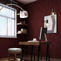 Non Woven Wallpaper Plain Wine Red Color Dark Red Retro Bedroom Living Room Wallpaper Covered With