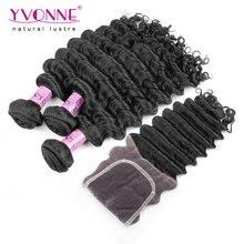 Aliexpress YVONNE Virgin Hair Brazilian Deep Wave With Closure,3 Bundles Human Hair Weave With Closure,Natural Color 1B