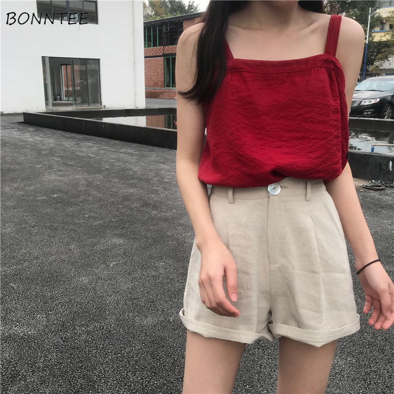 Shorts Women Casual Short Lady 2019 Popular Summer Outwear Womens A-Line Loose Comfortable Solid Literary Classic Sweet Graceful