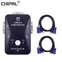 CHIPAL 2 Port USB 2,0 KVM Switch conmutador 1920*1440 VGA divisor SVGA caja con 2 uds Cables para teclado y ratón Monitor impresora
