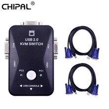 CHIPAL 2 порта USB 2,0 KVM переключатель 1920*1440 VGA SVGA разделитель Box с 2 шт. кабелей для клавиатуры мыши монитора принтера