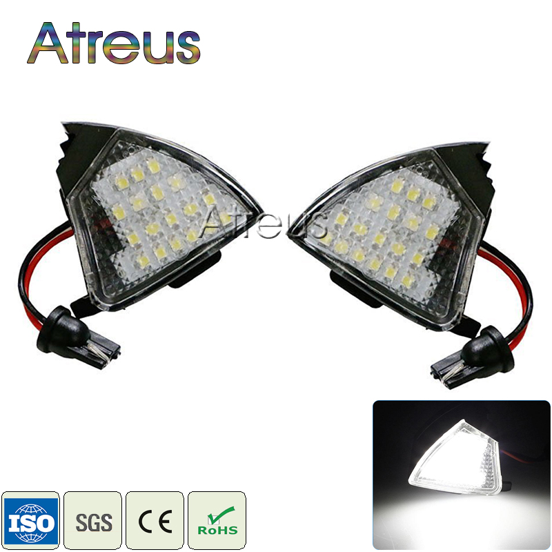 2Pcs No Error Car LED Under Side Miror Lights 12V White LED Lamp Bulb Kit For VW Golf 5 Mk5 MkV Passat b6 Jetta Eos Accessories no error car led license plate light number plate lamp bulb for vw touran passat b6 b5 5 t5 jetta caddy golf plus skoda superb