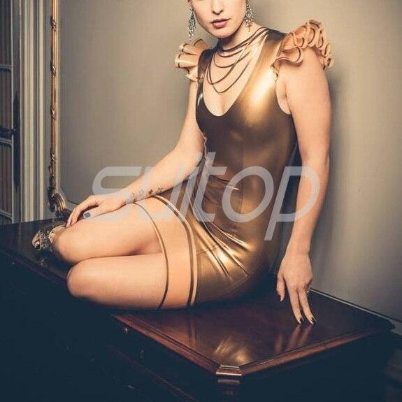 Arany szexi latex gumi ruha - Női ruházat