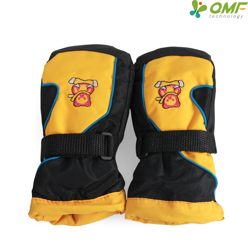 cute bear kids ski mittens boys winter yellow waterproof. Black Bedroom Furniture Sets. Home Design Ideas