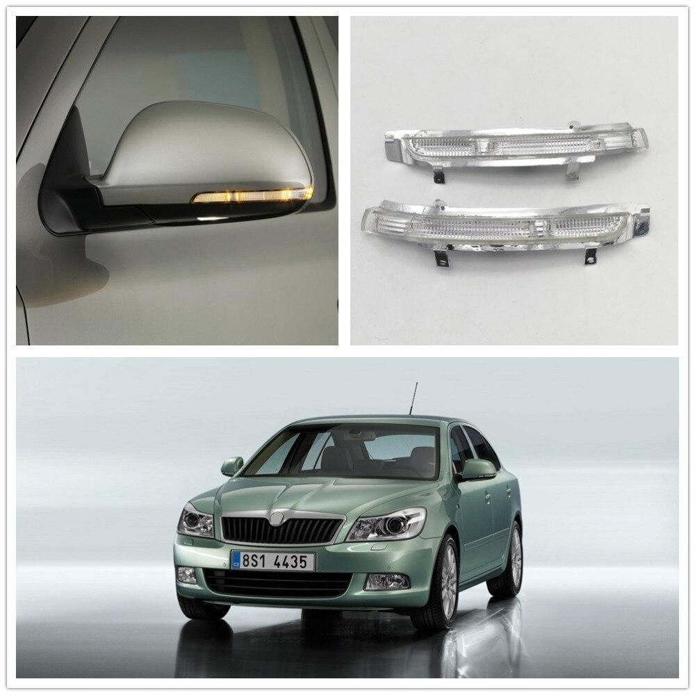 2 uds luz LED para espejo para Skoda Octavia A5 A6 2009, 2010, 2011, 2012, 2013 espejo trasero LED luz indicadora de señal de giro de la lámpara