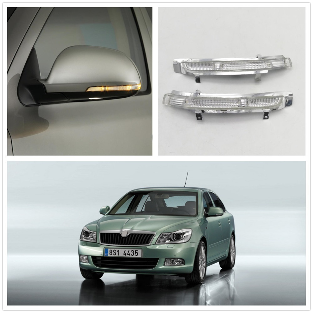 Skoda에 대 한 2pcs LED 미러 빛 Octavia A5 A6 2009 2010 2011 2012 2013 자동차 후면 거울 LED 차례 신호 표시 등 램프