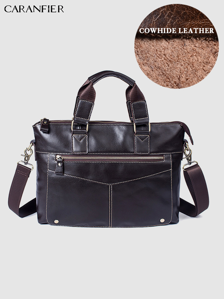 CARANFIER Mens Briefcases Business Shoulder Crossbody Bags Genuine Cowhide Leather Handbags Classic Male Travel Messenger Bags