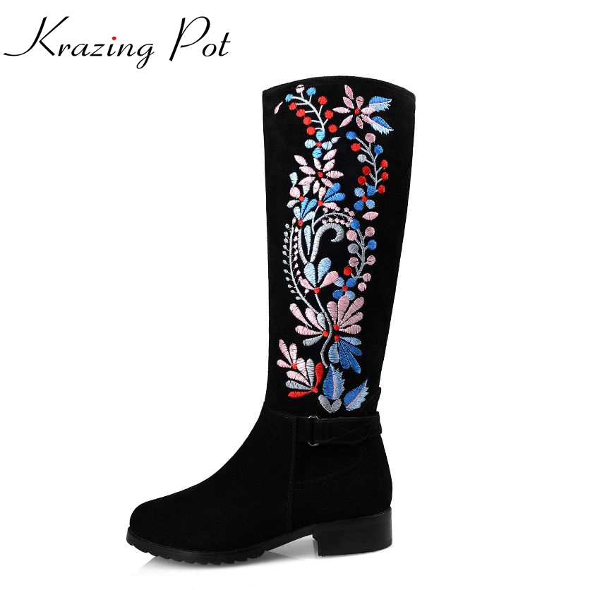 2017 flowers embroidery zip thigh high boots round toe med heels women shoes over the knee boots high quality zip lady boots L55 2017 shoes women med heels tassel slip on women pumps solid round toe high quality loafers preppy style lady casual shoes 17