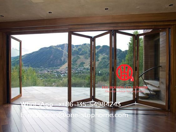 Energy Saving Insulated Aluminum Interior Glass Bi Folding Door,Decorative Grill Design Aluminium Glass Fold Doors