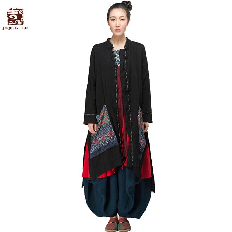 Jiqiuguer Women Solid Black Cotton Blouses Shirt Vintage Plus size Floral Embroidery Pocket Full Sleeve Loose