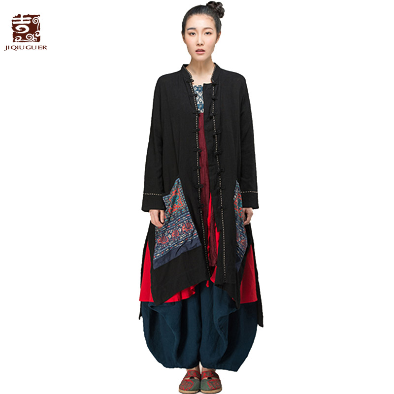 Jiqiuguer Women Solid Black Cotton   Blouses     Shirt   Vintage Plus size Floral Embroidery Pocket Full Sleeve Loose Long Tops G143Y010