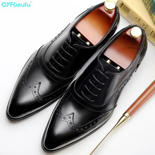 2019 Genuine Leather Men Dress Shoes Formal Wedding Men Leather Shoes Lace-up Brogue Business Office Oxfords For Men dxkzmcm handmade men flat leather men oxfords lace up business men shoes men dress shoes