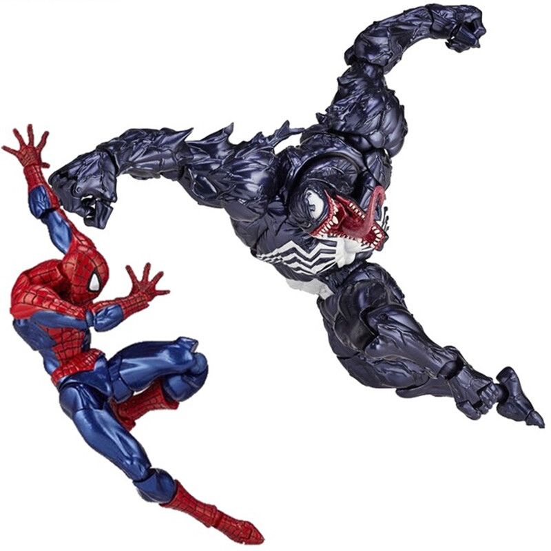 Venom Spiderman Series Action Figure Toys 18cm Spider Man Collectible Model Anime Toy Christmas Gifts spiderman creator x creator the amazing spider man pvc figure collectible model toy