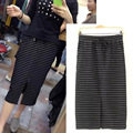 Spring and Autumn wild leisure section of the Korean version of elastic waist striped skirts skirt stretch fashion