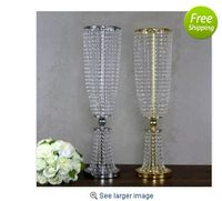 10pcs/lot gold silver color 31.5 tall crystal acylic centerpiece wedding crystal table decor flower stand event decoration