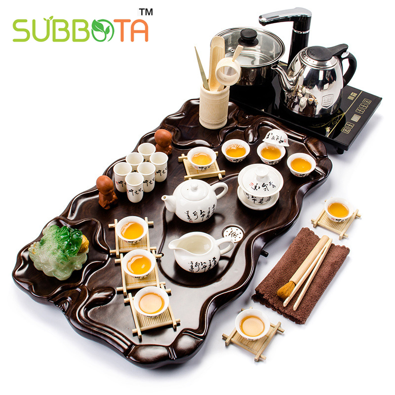 Chinese blue and white ceramic kungfu tea set tea tray set fast electric stove cover finished