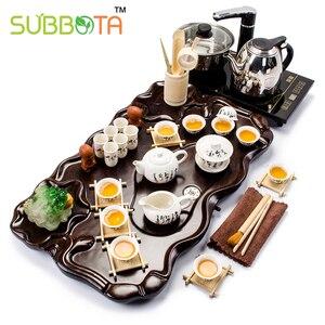 Китайский Синий и белый керамический чайный набор kungfu чайный набор с подносом быстрая электрическая плита крышка готовая чайная чашка для ...