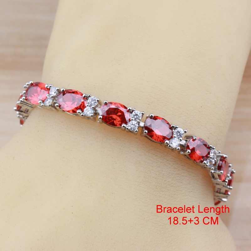 כלה חתונת תכשיטי סטי כסף צבע AAA + איכות אדום גרנט CZ להתנדנד עגילים/צמיד וטבעת לנשים סטים