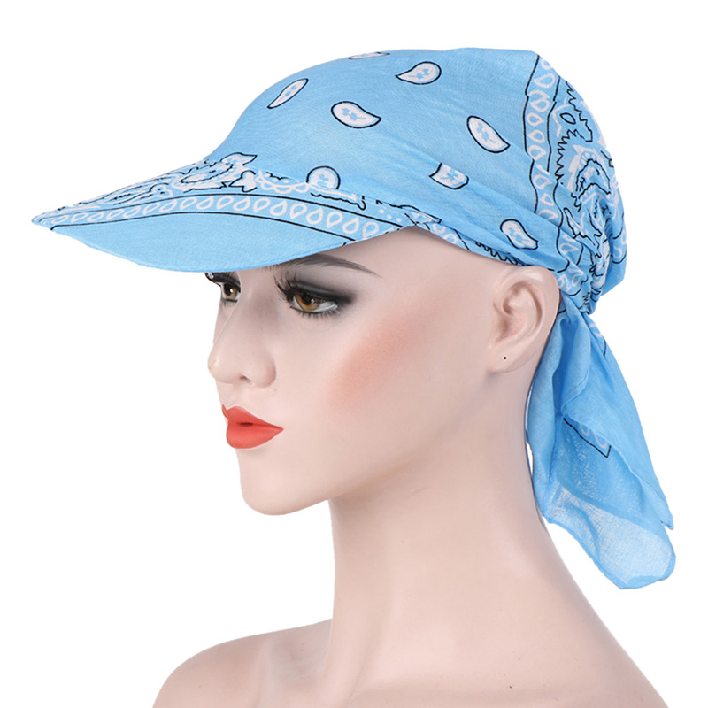 HTB1BF kbv1H3KVjSZFHq6zKppXa6 - Packable Head Scarf Visor Hat With Wide Brim Sunhat Women Summer Beach Sun Hats UV Protection Female Printed Cap