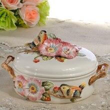 ceramic bird food container candy jar kitchen storage home decor handicraft porcelain figurines wedding decorations