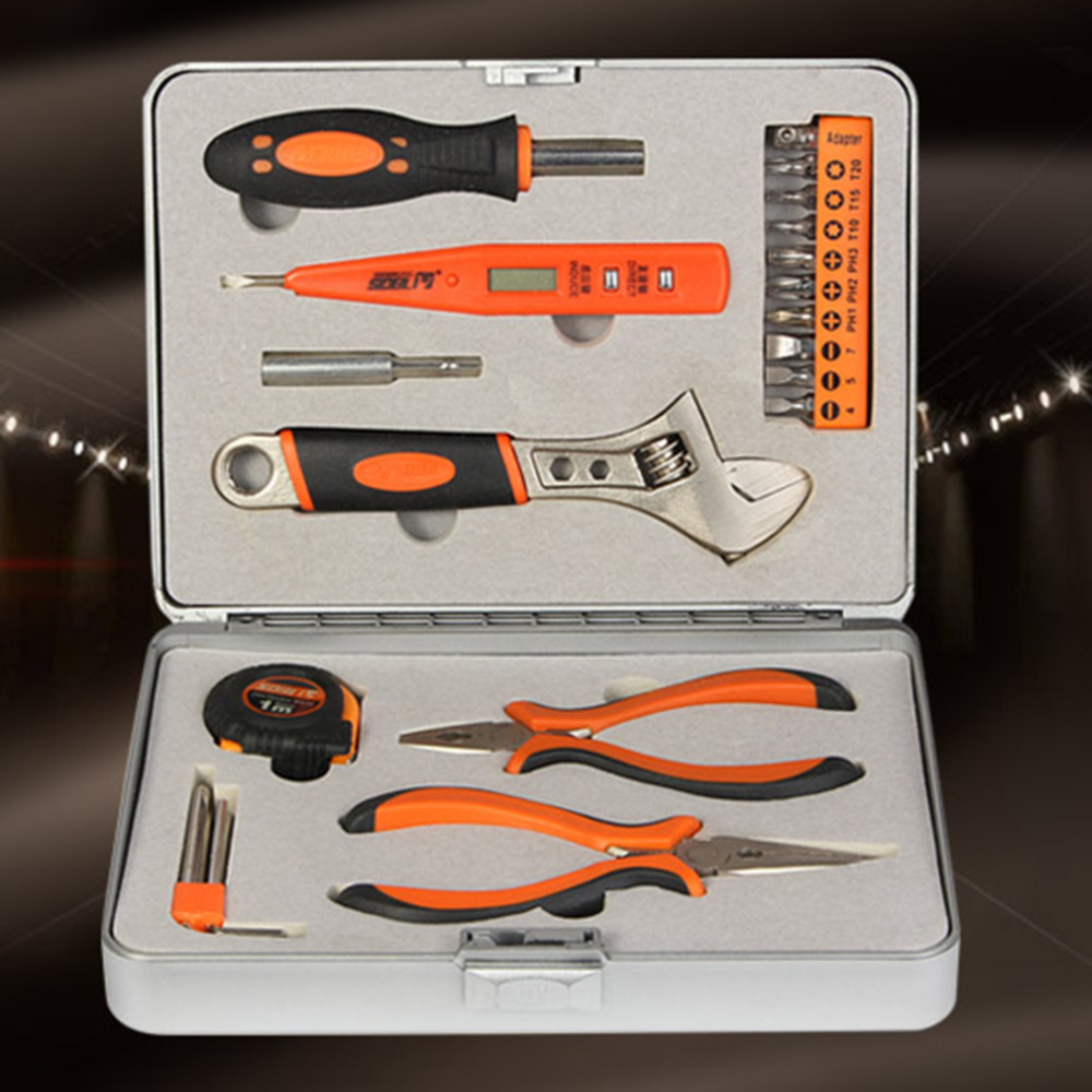 Hot 100% Brand new and high quality! 22 Pieces Mini Multi Purpose Mechanics Home Tool Set Kit In Tool Box  цены