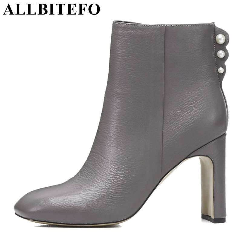 ALLBITEFO large size:33-43 genuine leather square toe thick heel women boots winter rivets high heels girls boots martin boots  allbitefo size 33 43 high quality genuine leather gradient color short women boots pointed toe chains thick heel martin boots
