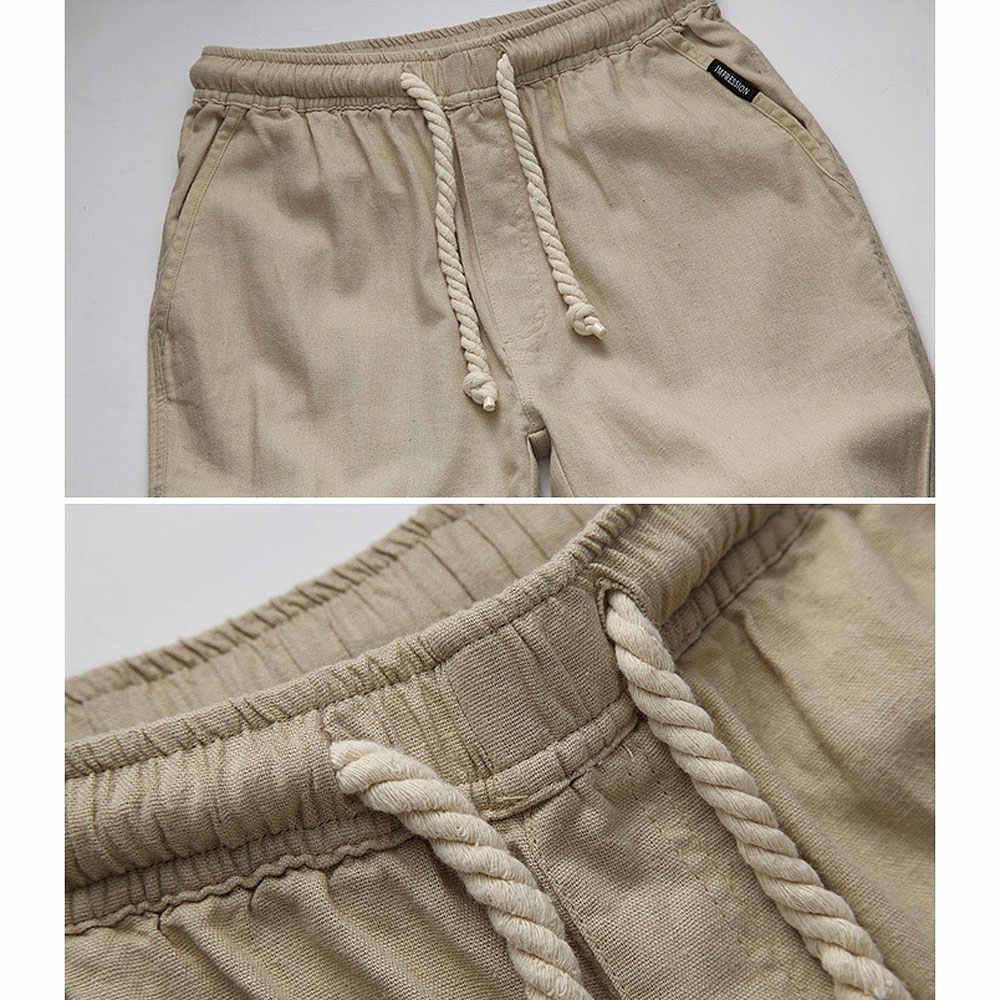 คุณภาพสูงบุรุษผ้าลินินกางเกง 2019 ฤดูร้อนสไตล์ Joggers สีทึบฝ้ายและผ้าลินิน sweatpants กางเกงสำหรับชาย