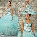 2017 vestido de Baile vestidos debutantes 15 Apliques de Cristal Quinceanera Vestidos Cap Mangas Tulle Ruffles Em Cascata Vestidos de Baile