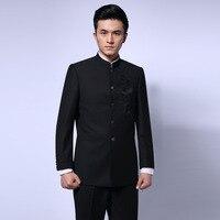 siyah çince tunik elbise erkek geleneksel standı yaka elbise APEC lideri kostüm erkek nakış ejderha totem elbise ceket 16