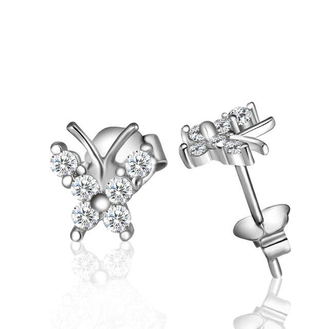 100% 925 Sterling Silver Earrings Women & Man Butterfly  Silver Stud Earring Trendy Jewelry boucle d'oreille en argent