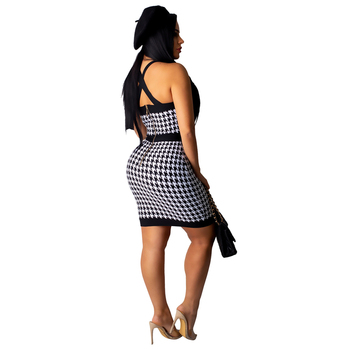 Mirsicas Houndstooth Buttons Bodycon Mini Dress Women Sexy Strapless