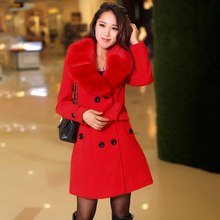 new Fashion Winter Woolen Coat Long Section Ol Commuter Big Fur Collar Coat Large Size Women Solid Double Breasted Outerwear casual polo neck faux fur collar long sleeves double breasted big hem woolen blend women s coat