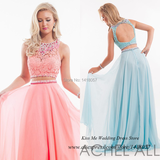 Pink Sage Long 2 Piece Prom Dresses 2015 Lace Crystals Backless ...