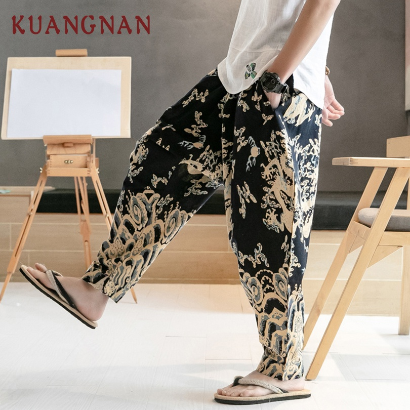 Chinese Dragon Print Wide Leg Pants  1